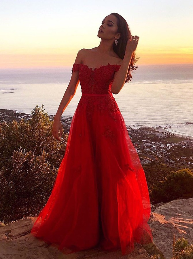 Chic Off Shoulder Red Tulle Long Prom Evening Dress with Appliques