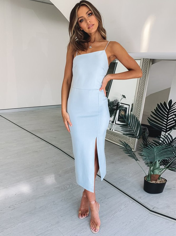 Tight Blue Spaghetti Straps Split Ankle-Length Prom Formal Party Dress