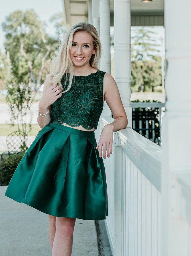 Two Piece Round Neck Beading Short Satin Dark Green Homecoming Dress