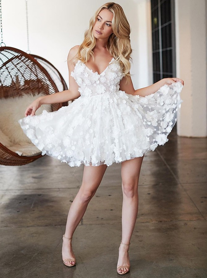 A-Line Spaghetti Straps White Homecoming Dress with Appliques