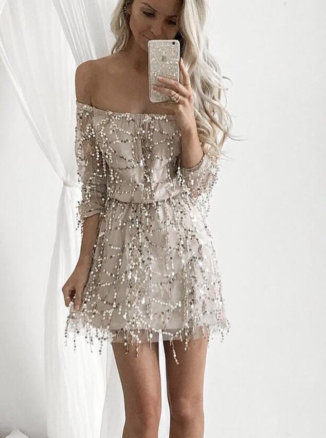 A-Line Off-the-Shoulder Half Sleeves Short Light Champagne Sequined Homecoming Dress