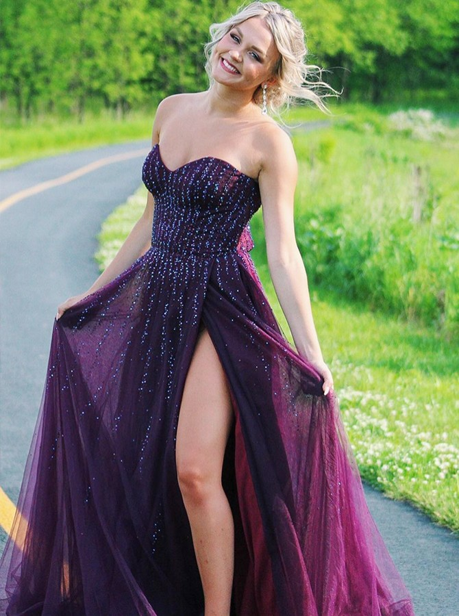 Burgundy Chiffon Long Prom Dress