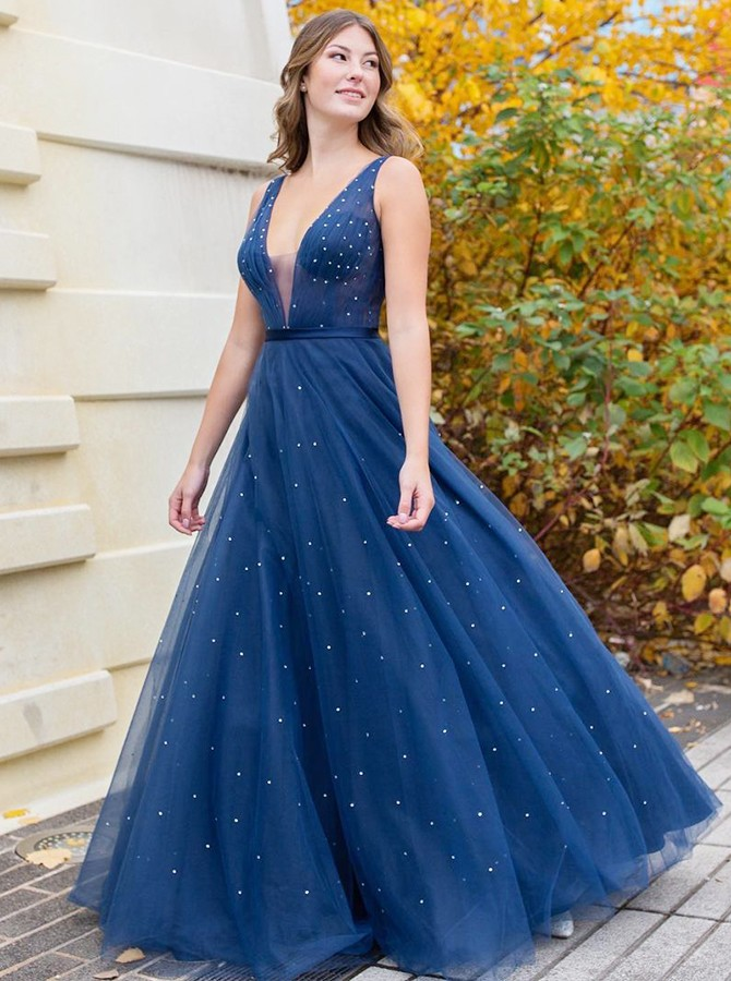 Blue Beading Long Prom Dress