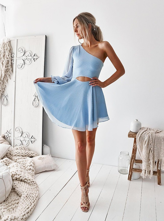 A-Line One Shoulder Short Light Blue Chiffon Homecoming Dress