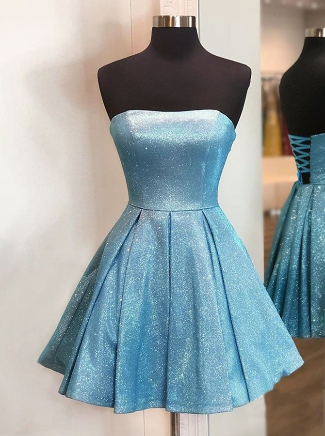 Modest Strapless Lace-up Homecoming Party Dress