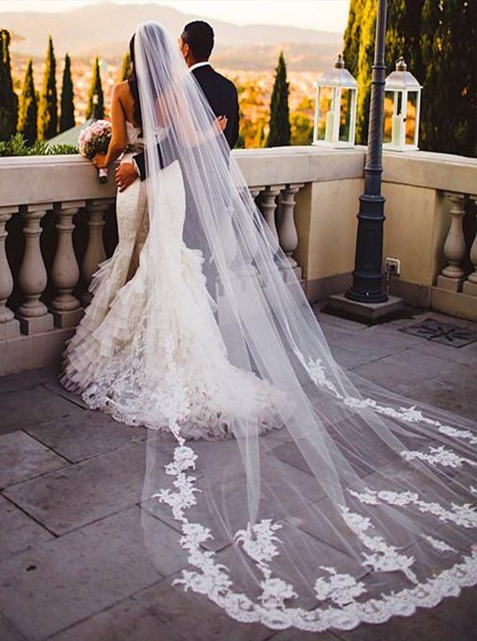 One Tier Appliques Cathedral Bridal Veils