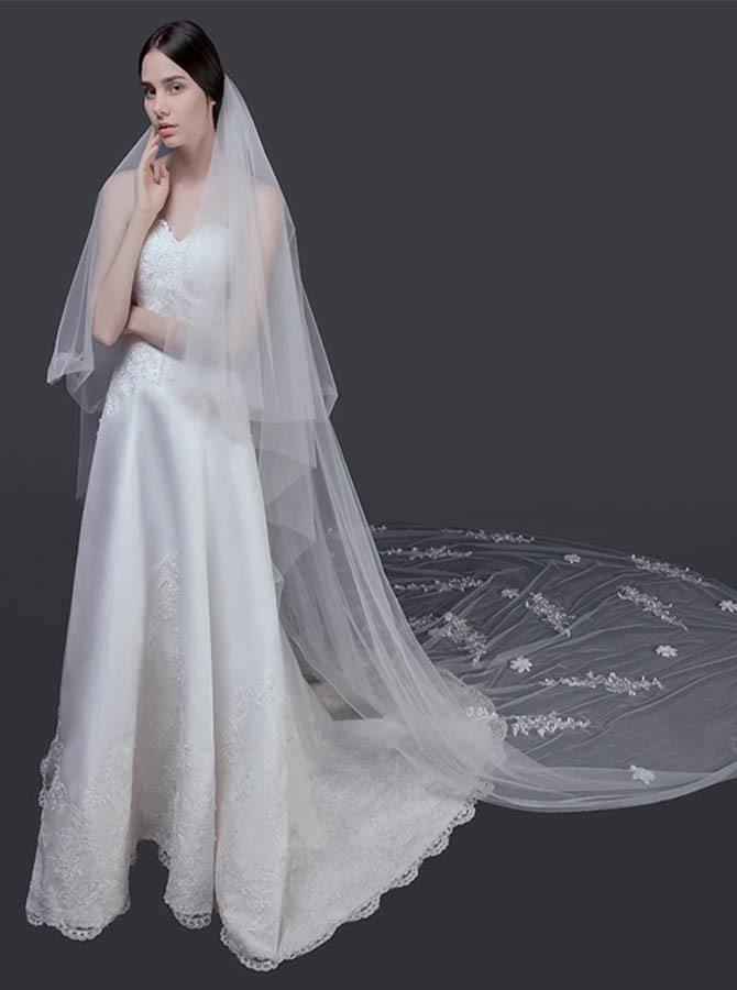 Waterfall Appliques Cathedral Bridal Veils