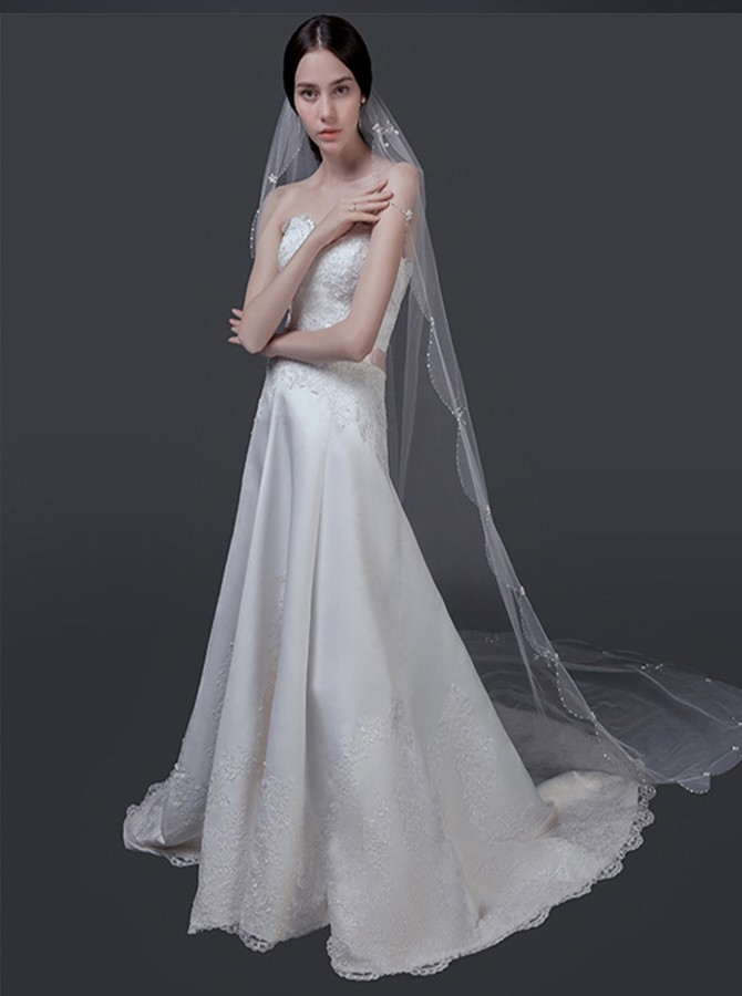 Scalloped Edge Beaded Cathedral Bridal Veils