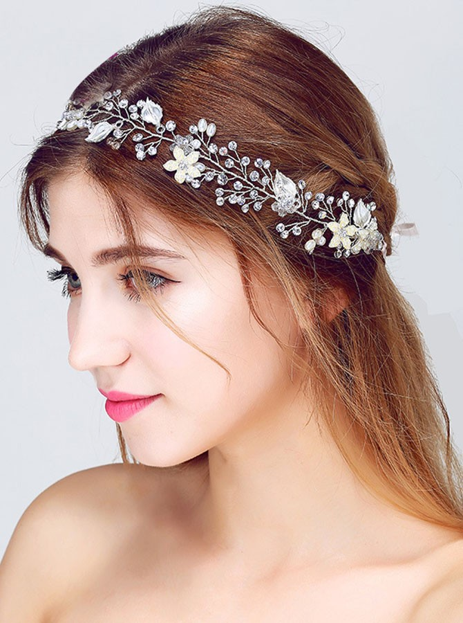 Gold Pearl Crystal Flower Headband