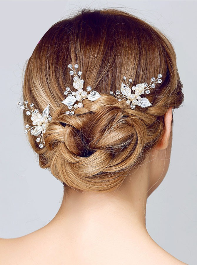 Silver Crystal Flower Hairpins