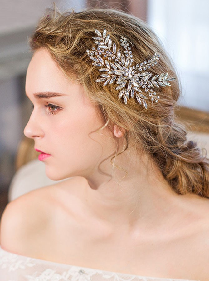 Silver Leaf Style Crystal Hairpin