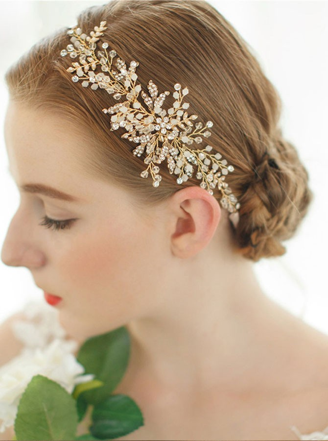 Gold Beaded Crystal Headband