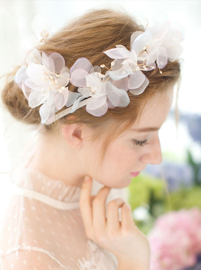 Gold Satin Flower Pearl Headband