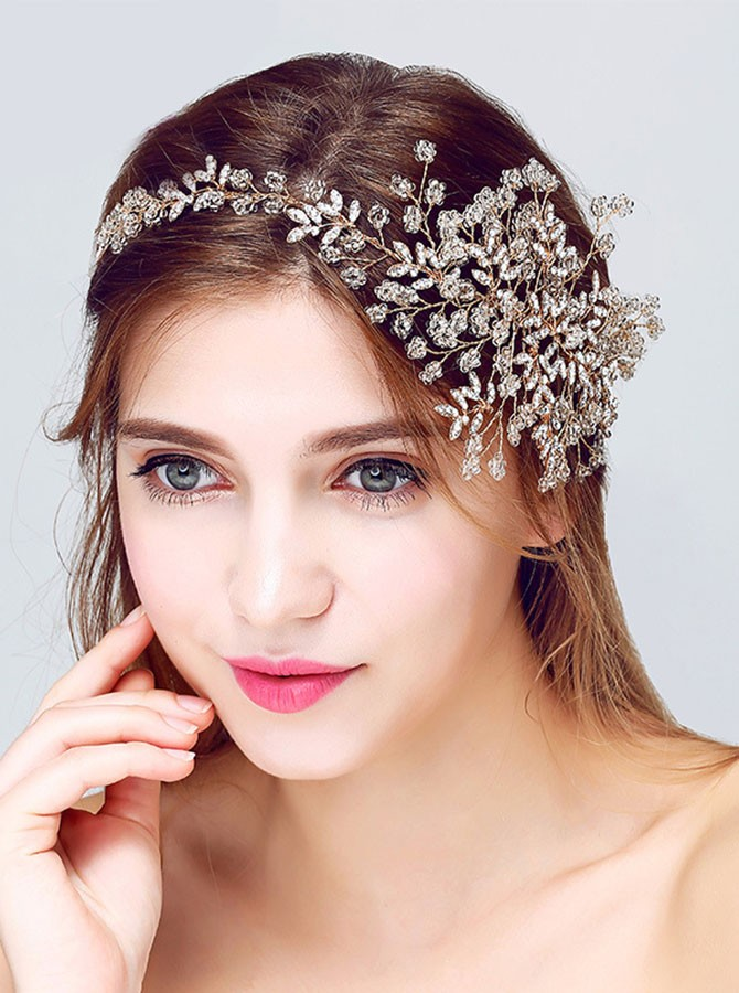 Gold Beaded Crystal Flower Headband