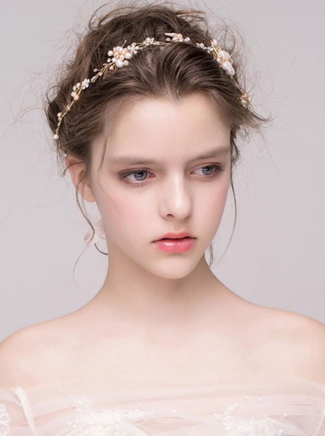 Silver Beaded Pearl Headband