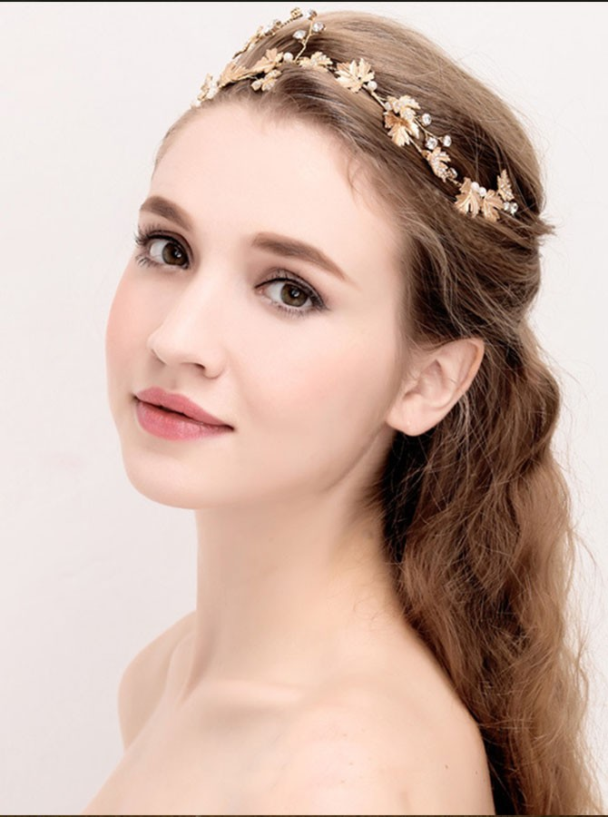 Gold Leaf Pearl Headband