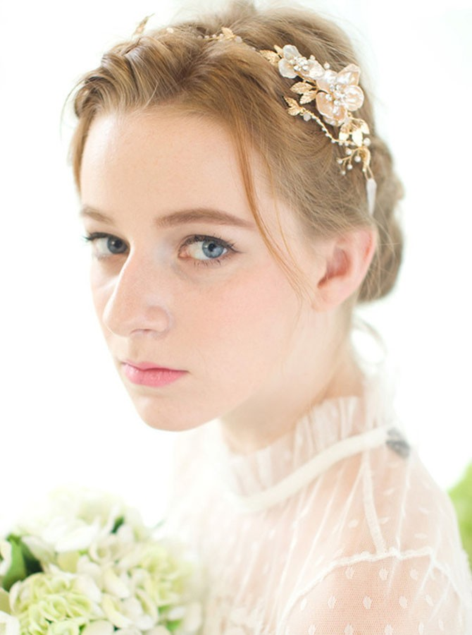 Gold Pearl Flower Headband