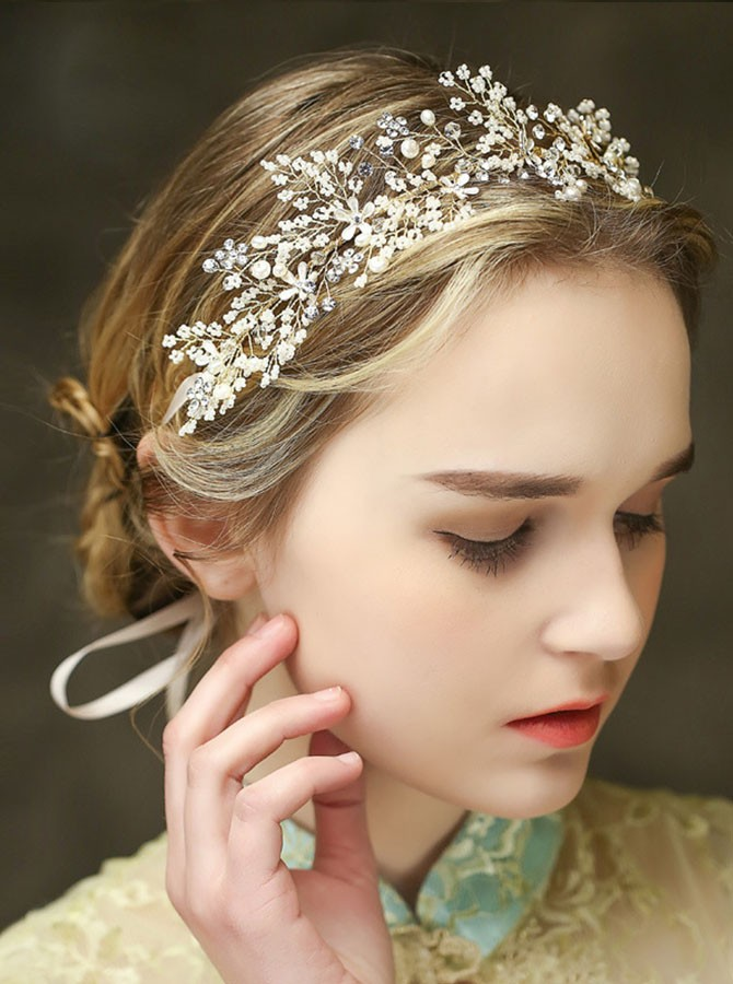 Gold Crystal Beaded Tiara
