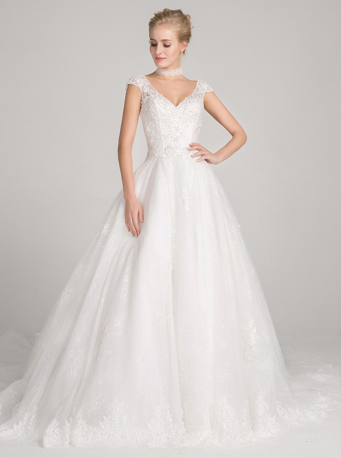 A-Line V-Neck Cap Sleeves Court Train White Wedding Dress with Appliques
