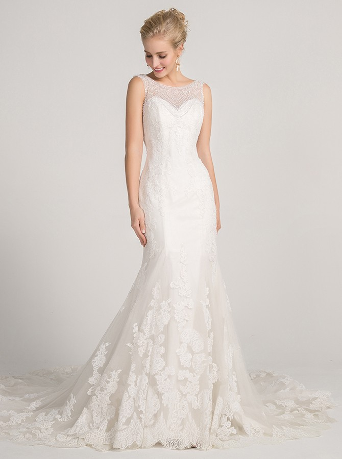 Mermaid Bateau Court Train White Wedding Dress with Appliques Beading