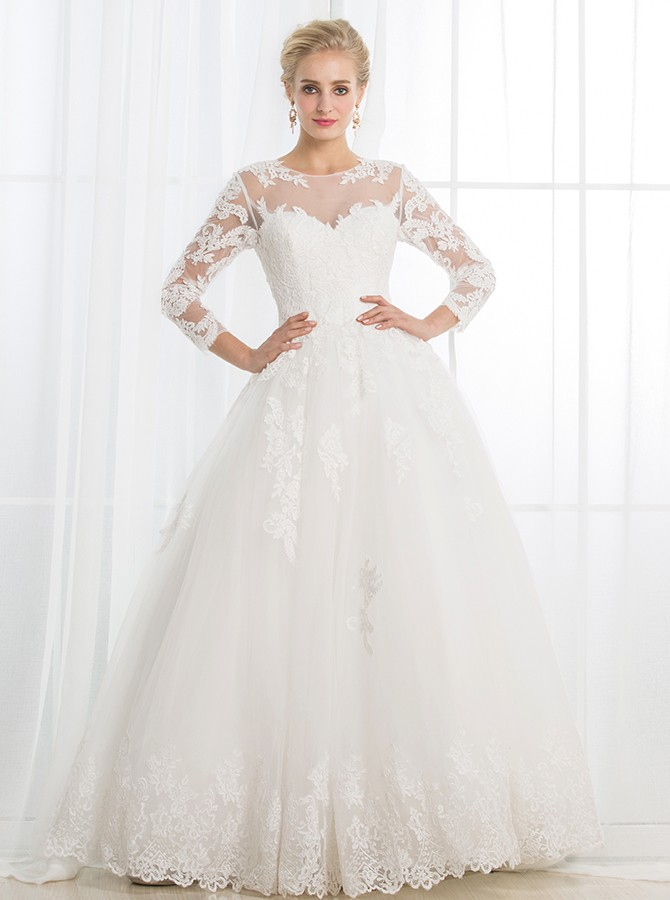 A-Line Round Neck 3/4 Sleeves Open Back White Wedding Dress with Appliques