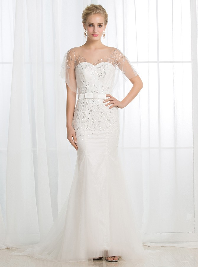 Mermaid Sweetheart Backless Sweep Train White Wedding Dress with Sequins
