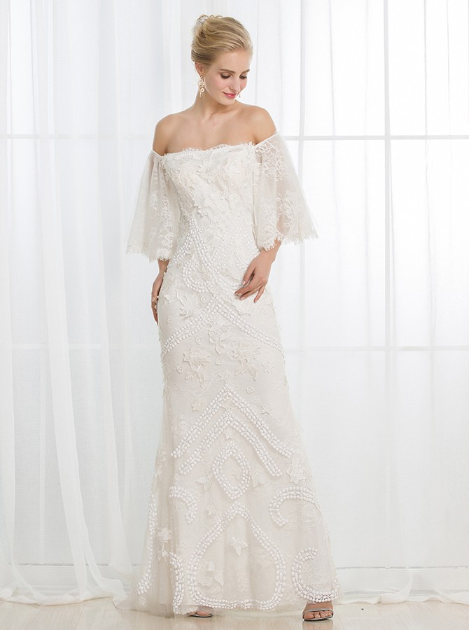 Sheath Strapless Half Sleeves Floor-Length Wedding Dress with Appliques