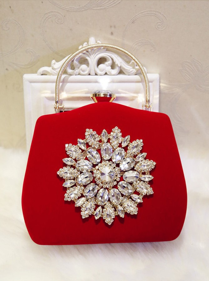 Red Rhinestone Clutch Bag