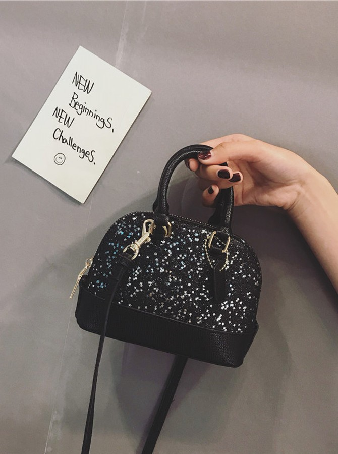 Black Sequins Chain Totes