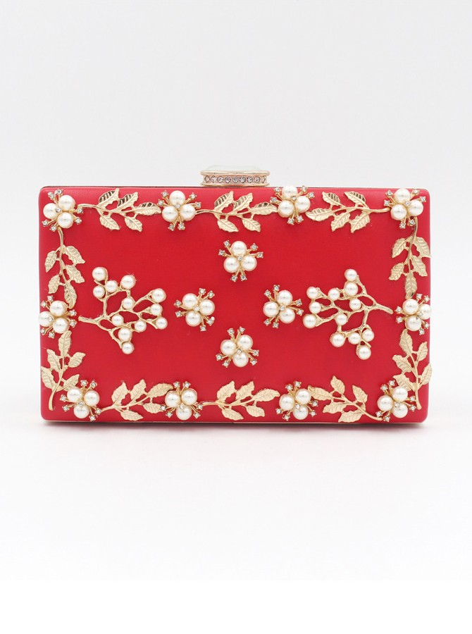 Red Metal Pearls Clutch