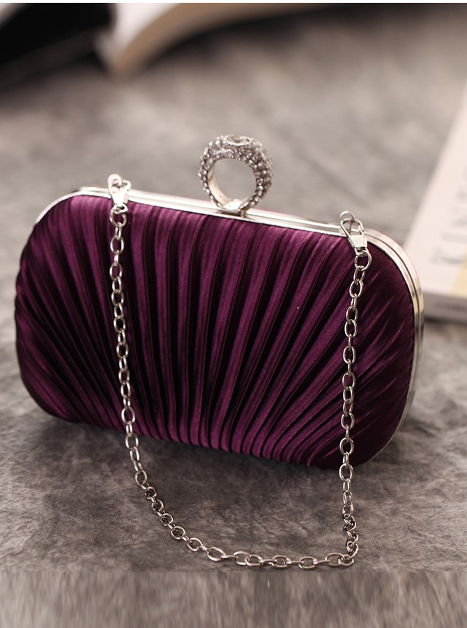 Purple Velvet Chain Clutch