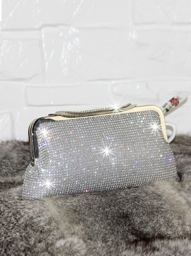 Silver Beaded Bridal Purse