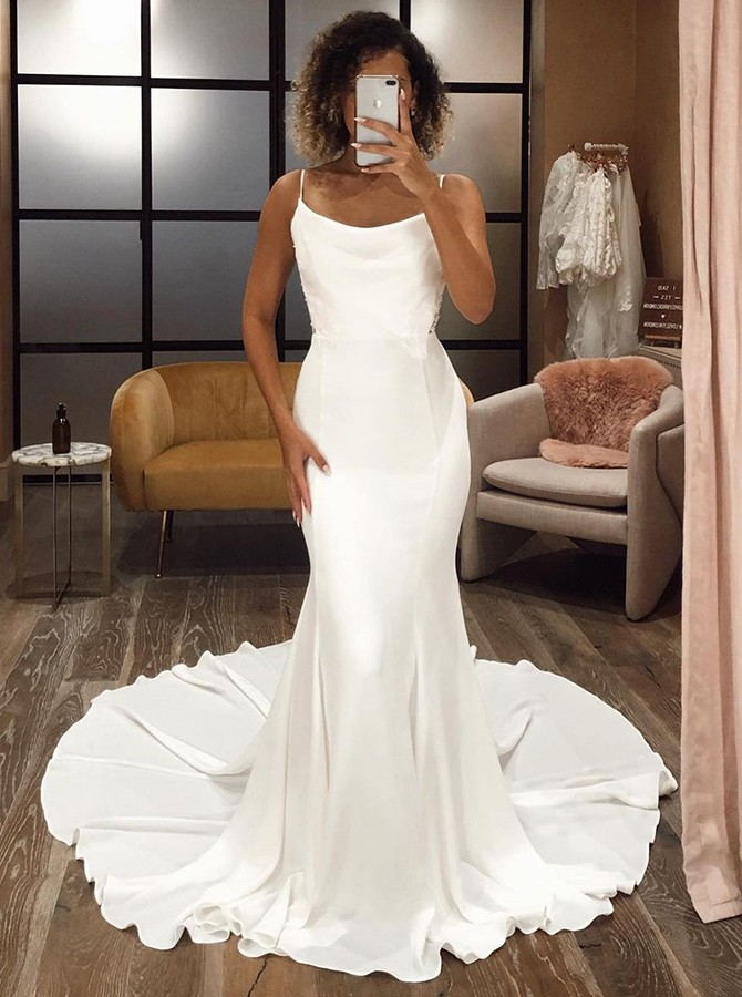 White Mermaid Satin Sleeveless Wedding Dress with Sweep Train