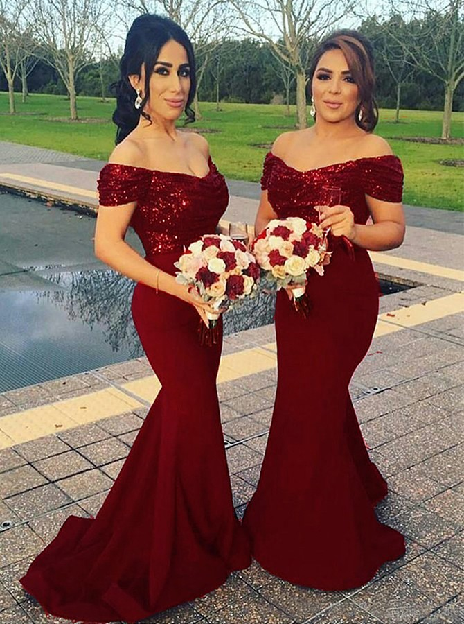 Mermaid Off-the-Shoulder Sweep Train Dark Red Bridesmaid Dress with Sequins