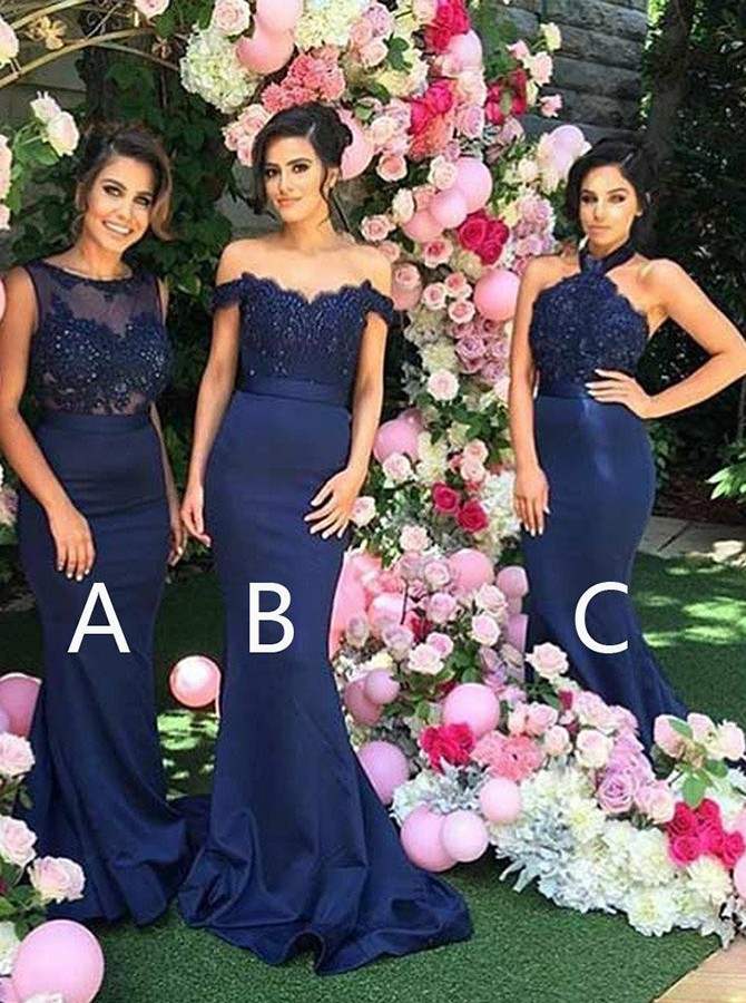 Mermaid Round Neck Sweep Train Dark Blue Bridesmaid Dress with Appliques Beading