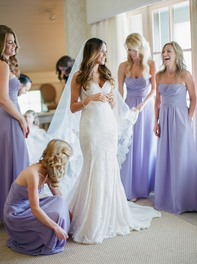 A-Line Sweetheart Backless Lavender Chiffon Bridesmaid Dress with Ruched