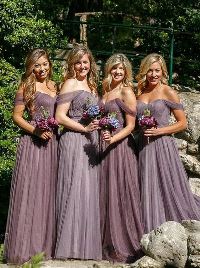A-Line Off-the-Shoulder Floor-Length Pleats Tulle Bridesmaid Dress