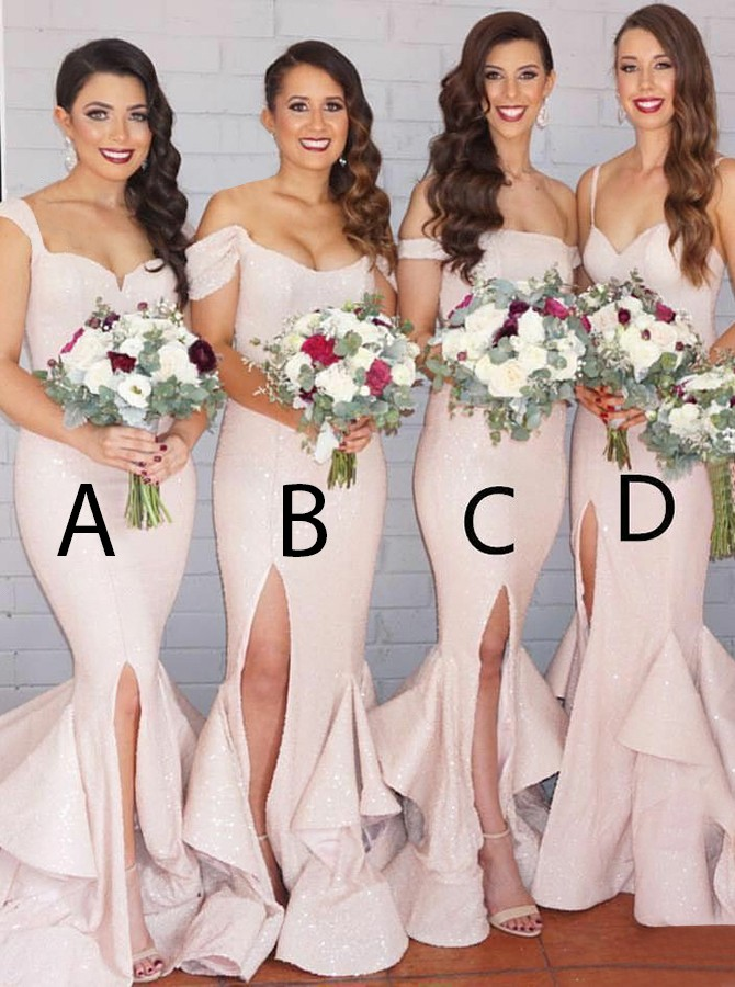 Mermaid Straps Sweep Train Pearl Pink Sequined Bridesmaid Dress with Ruffles