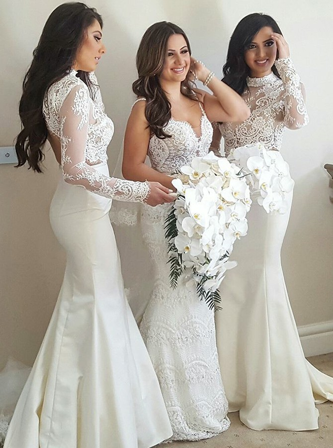 Mermaid High Neck Open Back Long Sleeves Ivory Bridesmaid Dress with Appliques
