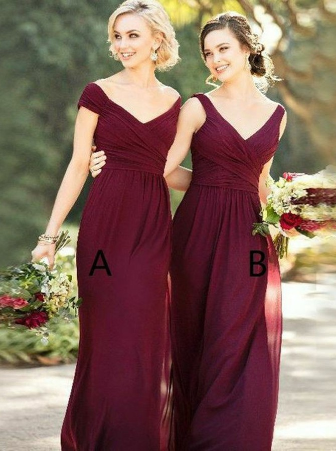 Sheath Off-the-Shoulder Floor-Length Burgundy Bridesmaid Dress with Ruched