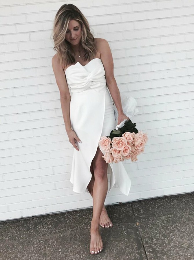 Sheath Sweetheart High Low White Bridesmaid Dress with Ruched