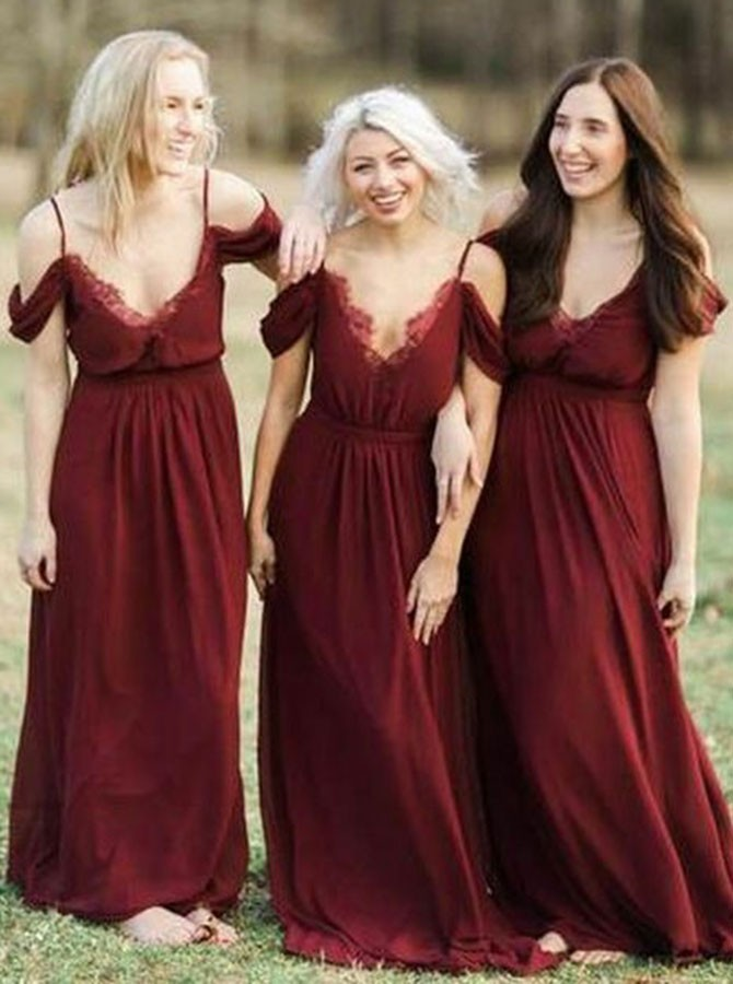 Elegant Cold Shoulder Burgundy Chiffon Bridesmaid Dress with Ruffles