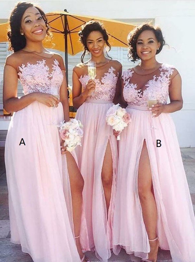 A-Line Bateau Long Pink Chiffon Bridesmaid Dress with Appliques Split