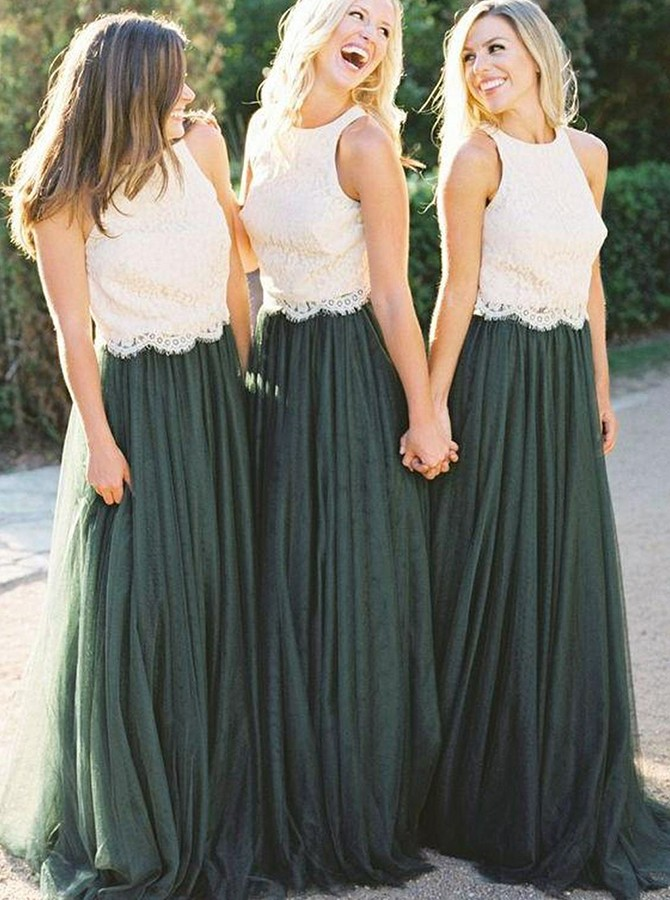 Two Piece Round Neck Floor-Length Bridesmaid Dress with Lace