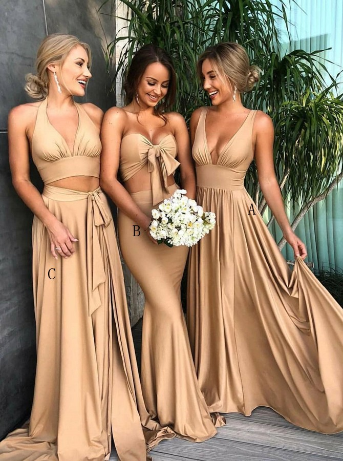 A-Line V-Neck Sweep Train Brown Bridesmaid Dress with Pleats