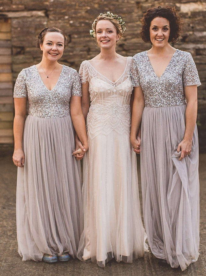 A-Line V-Neck Floor-Length Short Sleeves Grey Tulle Bridesmaid Dress with Sequins