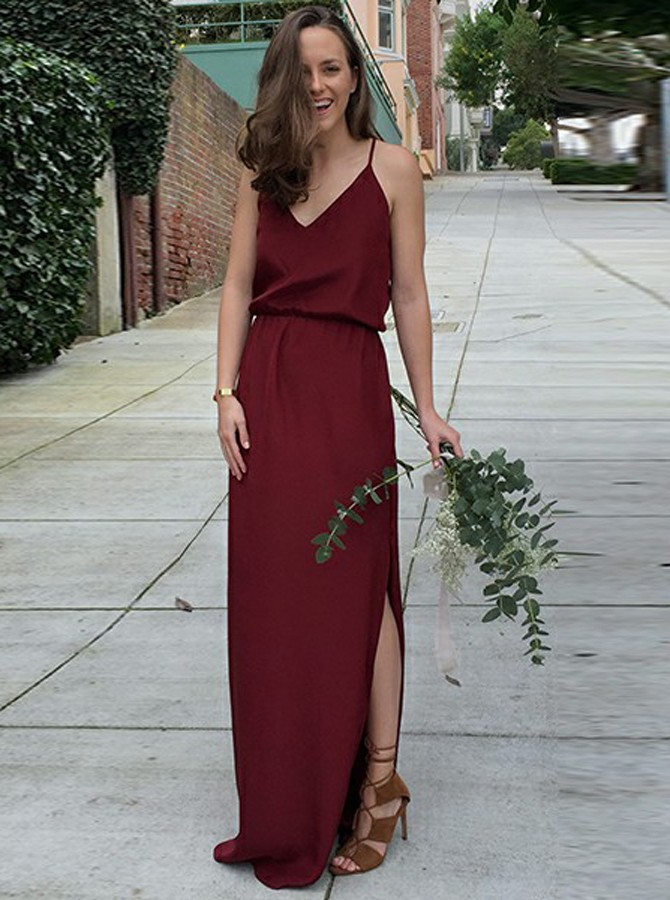 A-Line Spaghetti Straps Floor-Length Burgundy Chiffon Prom Dress
