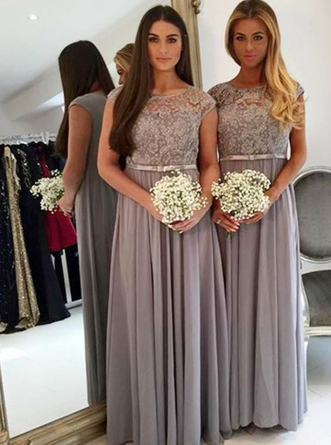 A-Line Round Neck Floor-Length Grey Bridesmaid Dress with Appliques Beading