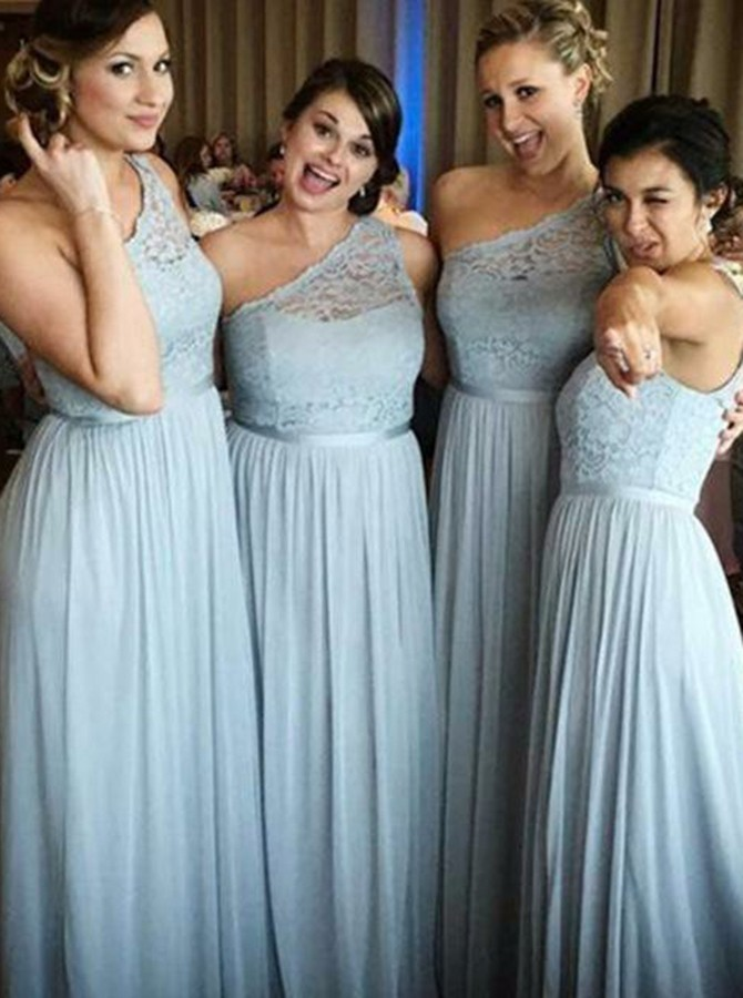 A-Line One-Shoulder Floor-Length Light Blue Bridesmaid Dress with Lace