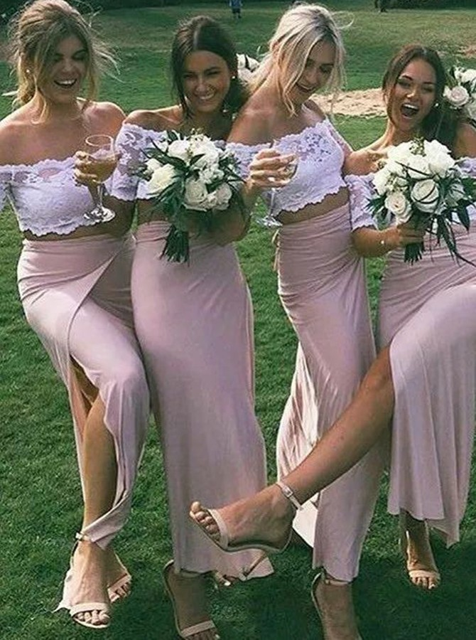 Two Piece Off-the-Shoulder Ankle-Length Blush Bridesmaid Dress with Lace
